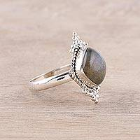 Labradorite cocktail ring, 'Brilliant Mesa' - Rounded Square Labradorite and Sterling Silver Cocktail Ring