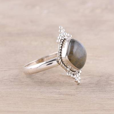 Rounded Square Labradorite and Sterling Silver Cocktail Ring