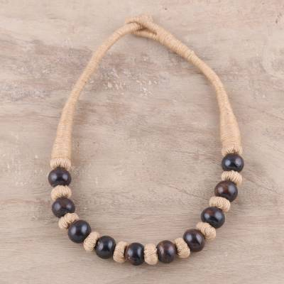 Bone beaded necklace, 'Natural Woman' - Handcrafted Brown Buffalo Bone on Tan Cotton Beaded Necklace