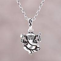 Sterling silver pendant necklace, 'Proud Ganesha' - Sterling Silver Ganesha Pendant Necklace from India