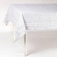 Cotton tablecloth, 'Petal Arc in Grey' - Petal Motif Cotton Tablecloth in Grey from India