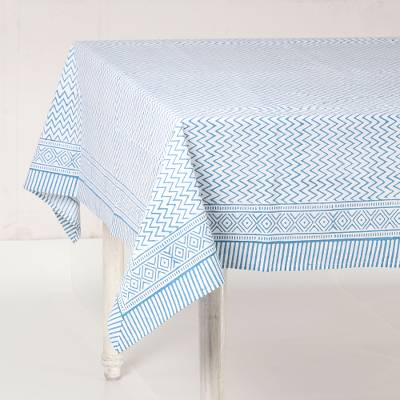 Cotton tablecloth, 'Cyan Waves' - Zigzag Motif Cotton Tablecloth in Cyan from India