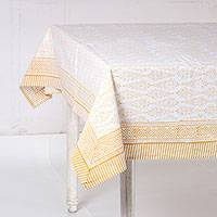 Cotton tablecloth, 'Amber Wood' - Printed Cotton Tablecloth in Amber from India