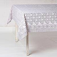 Cotton tablecloth, 'Garden Bliss in Grey' - Printed Cotton Tablecloth in Grey from India