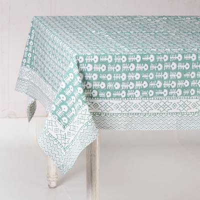 Cotton tablecloth, 'Wildflower Parade in Green' - White and Sea Green Hand Block Print Cotton Tablecloth