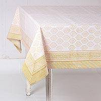 Cotton tablecloth, 'Lovely Leaves in Amber' - Amber and White Hand Block Print Leaves Cotton Tablecloth