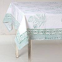 Cotton tablecloth, 'Dahlia Elegance in Green' - Green and White Dahlia Block Print Cotton Tablecloth