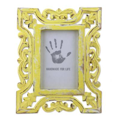 Distressed Yellow Hand Carved Mango Wood Photo Frame (4x6)