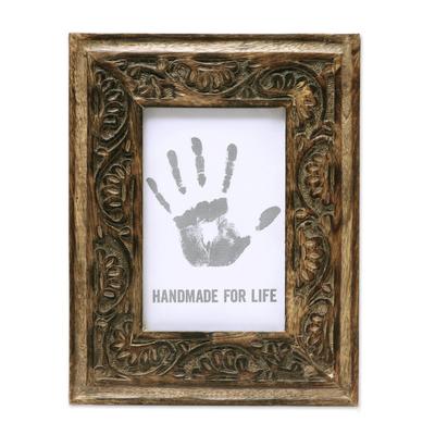 Hand Carved Vine Motif Mango Wood Photo Frame (4x6)