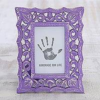 Wood photo frame, 'Purple Bliss' (4x6) - Lilac Purple Shabby Chic Mango Wood Photo Frame 4x6 Inch