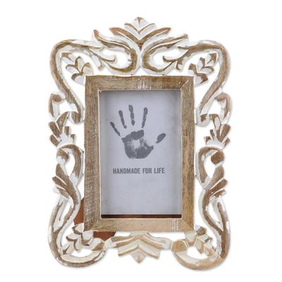 Whitewashed Hand Carved Rectangular Wood Photo Frame 4x6