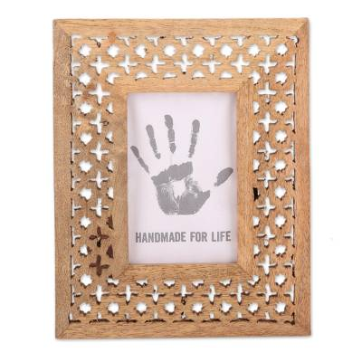Hand-Carved Mango Wood Starry Blossoms Photo Frame 4x6