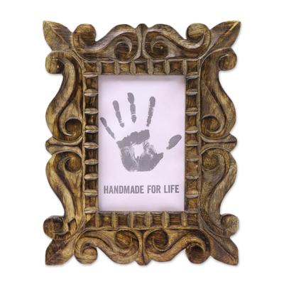 Hand-Carved Natural Mango Wood Ornate Photo Frame 4x6
