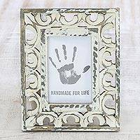 Wood photo frame, 'Royal Archway' (4x6) - 4x6 Distressed Ornate Mango Wood Cream Photo Frame
