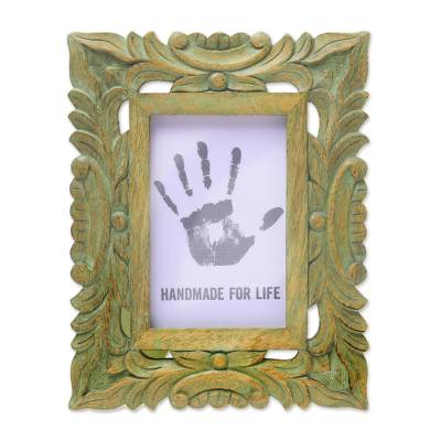 Green Hand-Carved Rustic Leafy Vine 4x6 Photo Frame
