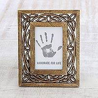 Wood photo frame, 'Veranda Vines' (4x6) - Wood Hand Carved Vine Motif Rectangular Photo Frame (4x6)