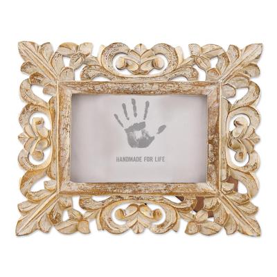 4x6 Hand-Carved Golden Mango Wood Ornate Photo Frame