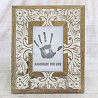 Wood photo frame, 'White Garden' (4x6) - Mango Wood Photo Frame Crafted in India (4x6)