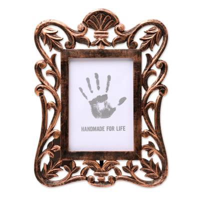 Copper-Colored Carved Rustic Mango Wood Photo Frame