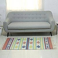 Wool area rug, 'Spinning Tops' (3x5) - Multi-Colored Handwoven Wool Area Rug 3x5 with Fringe