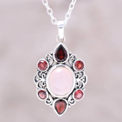 Garnet and rose quartz pendant necklace, 'Glory of Red' - Garnet and Rose Quartz Pendant Necklace from India