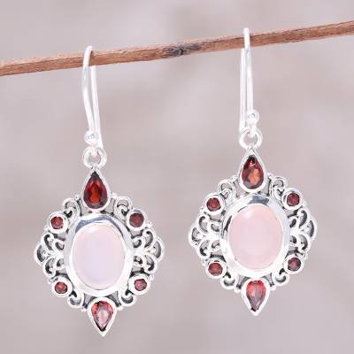Garnet and rose quartz dangle earrings, 'Glory of Red' - Garnet and Rose Quartz Dangle Earrings from India