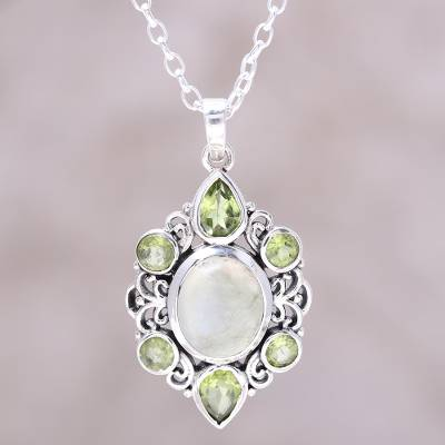 Peridot and prehnite pendant necklace, 'Glory of Green' - Peridot and Prehnite Pendant Necklace from India