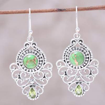 Peridot dangle earrings, 'Verdant Ecstasy' - Pear Peridot and Composite Turquoise Earrings from India