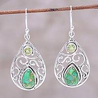 Peridot dangle earrings,