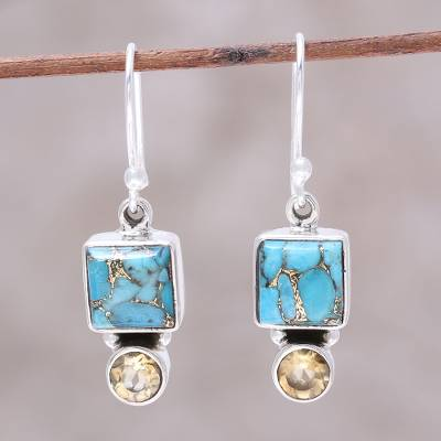 Citrine dangle earrings, 'Creative Beauty' - Citrine and Composite Turquoise Dangle Earrings from India