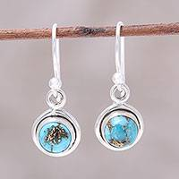 Sterling silver dangle earrings, 'Adorable Moon in Blue' - Sterling Silver and Blue Composite Turquoise Earrings