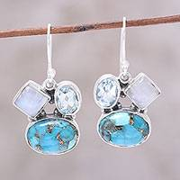 Blue topaz and rainbow moonstone dangle earrings,