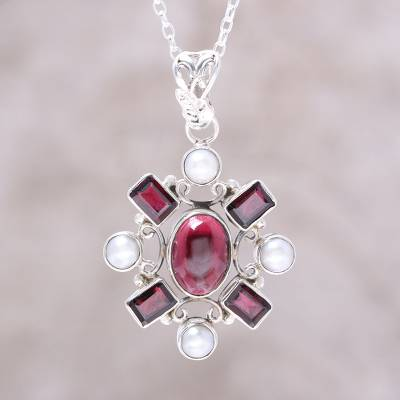 Garnet and cultured pearl pendant necklace, Alluring Style