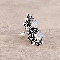 Rainbow moonstone cocktail ring, 'Twin Rainbow' - Two-Stone Rainbow Moonstone Cocktail Ring from India