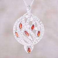 Rhodium plated sterling silver pendant necklace, 'Glittering Elegance' - Red CZ Rhodium Plated Sterling Silver Pendant Necklace