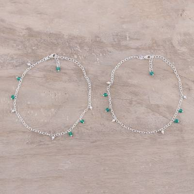 Onyx anklets, 'Green Tint' (pair) - Green Onyx Charm Anklets from India (Pair)