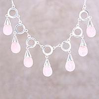 Rose quartz pendant necklace,