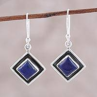Lapis lazuli dangle earrings, 'Trendy Kites' - Blue Lapis Lazuli Square Dangle Earrings from India