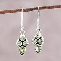 Peridot dangle earrings, 'Sparkling Forest' - Green Peridot Dangle Earrings Crafted in India