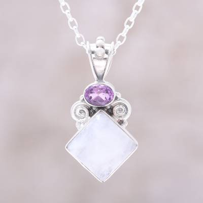 Rainbow moonstone and amethyst pendant necklace, 'Timeless Allure' - Rainbow Moonstone and Amethyst Pendant Necklace from India