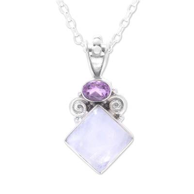 Rainbow Moonstone and Amethyst Pendant Necklace from India