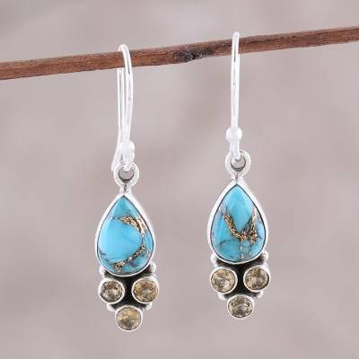 Citrine dangle earrings, 'Sunny Dew' - Citrine and Composite Turquoise Dangle Earrings from India