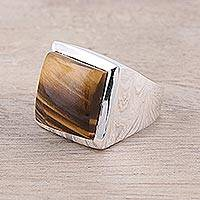 Tiger's eye ring, 'Might' - Modern Tiger's Eye Ring Crafted in India