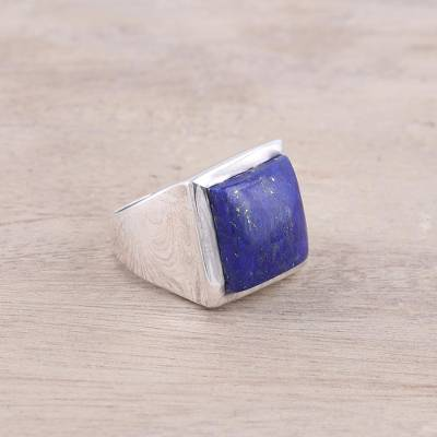 Modern Lapis Lazuli Ring Crafted in India