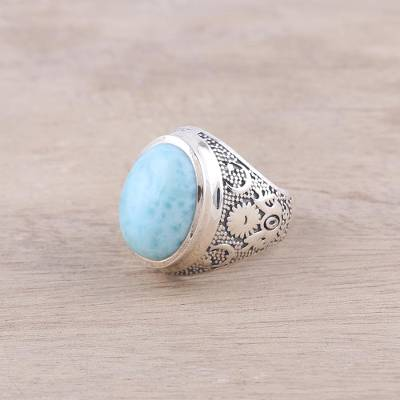 Larimar and Sterling Silver Ring Crafted in India