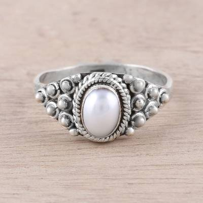 Dot Motif Cultured Pearl Cocktail Ring from India