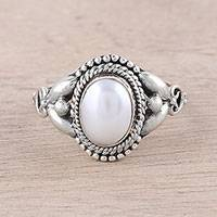 Cultured pearl cocktail ring, 'Morning Charm' - Artisan Crafted Cultured Pearl Cocktail Ring from India