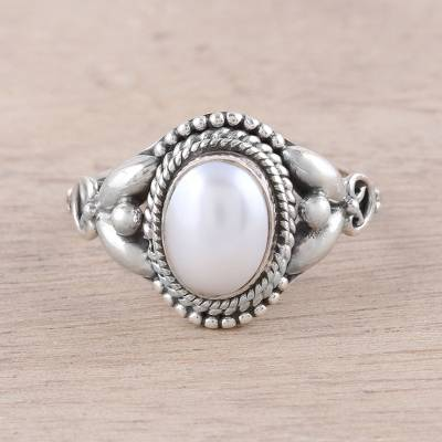 Artisan Crafted Cultured Pearl Cocktail Ring from India