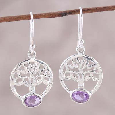 Amethyst dangle earrings, 'Corona Trees' - Tree Motif Amethyst Dangle Earrings from India