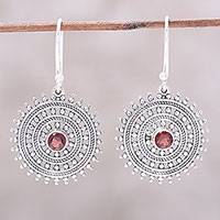 Garnet dangle earrings, 'Radiant Wheels' - Garnet and Sterling Silver Concentric Circle Dangle Earrings